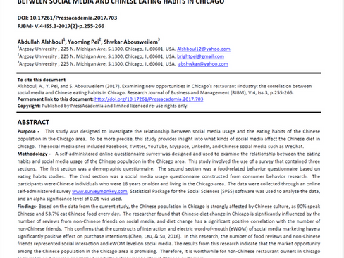 Research Publication: Examining new opportunities in Chicago's restaurant industry: the correlation