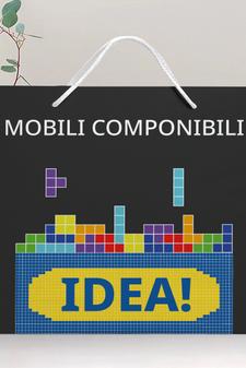 """""""Mobili componibili. IDEA!""""  Interpretazione del brand IKEA."""