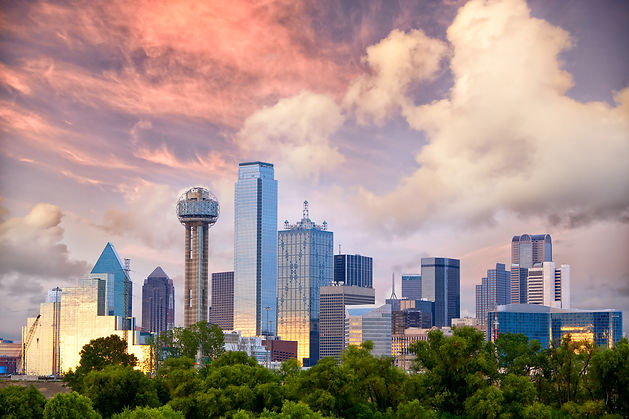Dallas City skyline at sunset, Texas, US