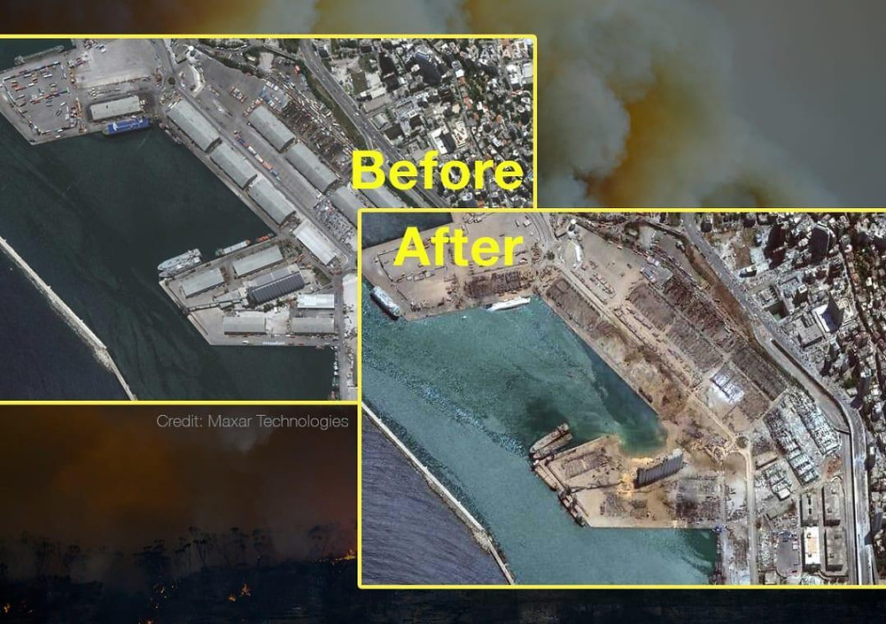 Before and after satellite images show the damage caused by Beirut explosion
