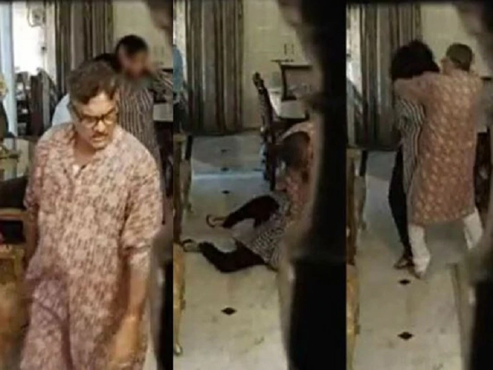 MP ADG Purushottam Sharma seen beating wife in the video