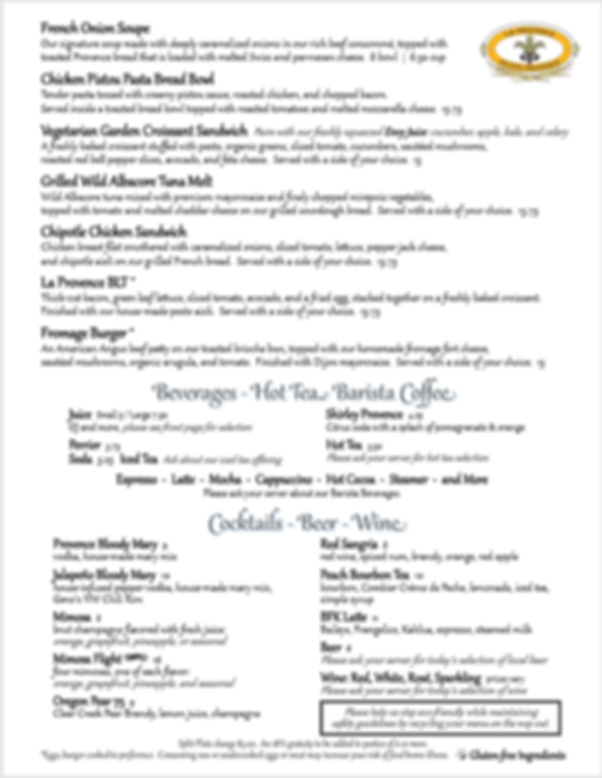 Reopening Menu page 2 for La Provence