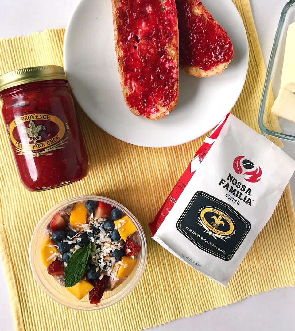 Petit Market Chia Pudding, Jam, Coffee