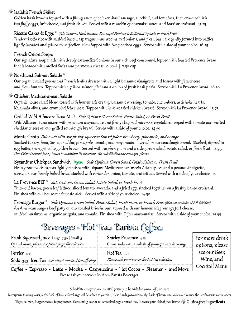 Provence Master Breakfast and Lunch Menu pg2