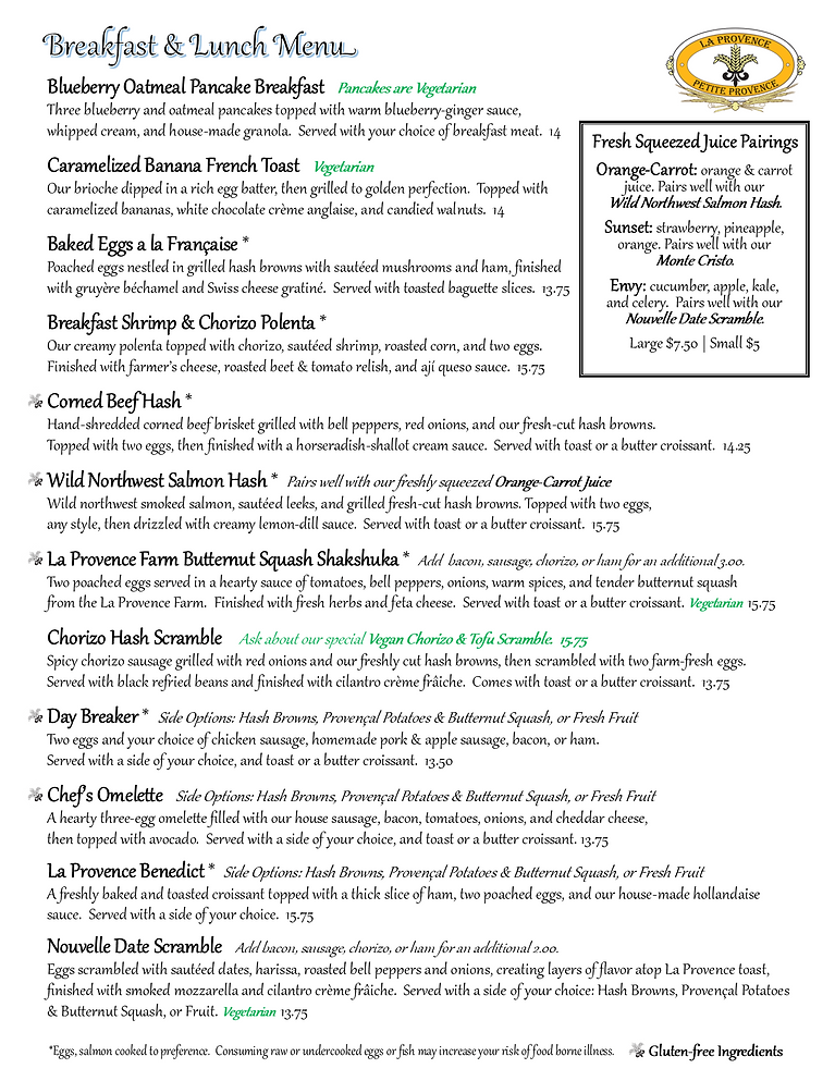 Pg 1 La Provence/Petite Provence Breakfast and Lunch Menu Spring 2021