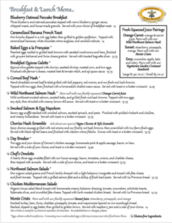 Reopening Menu page 1 for La Provence