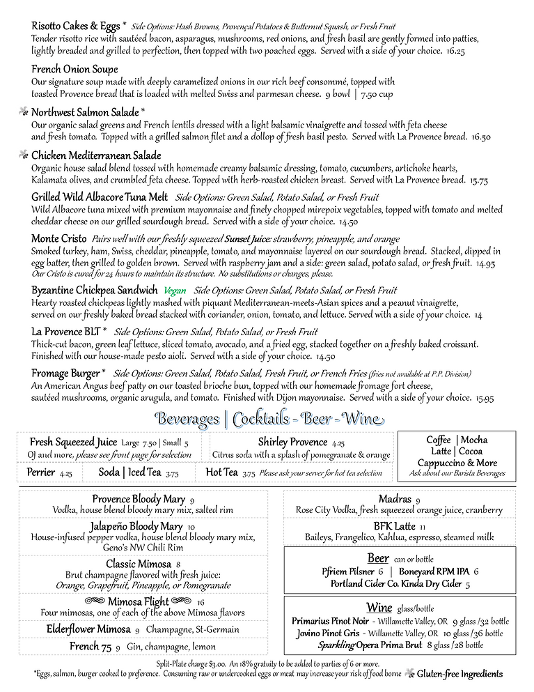 Provence Sandy Breakfast and Lunch Menu pg2