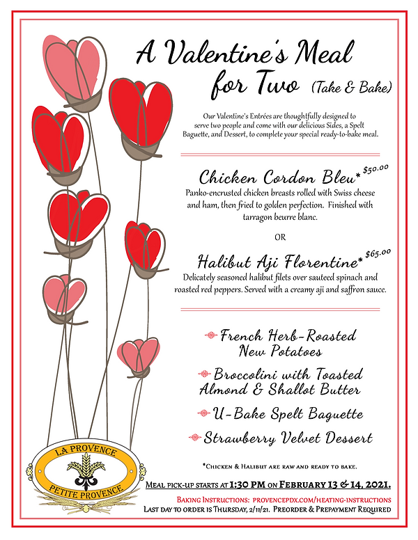 Valetines Day Family Meal Menu for 2021 Picture