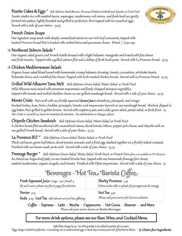 Pg 2 La Provence/Petite Provence Breakfast and Lunch Menu Spring 2021