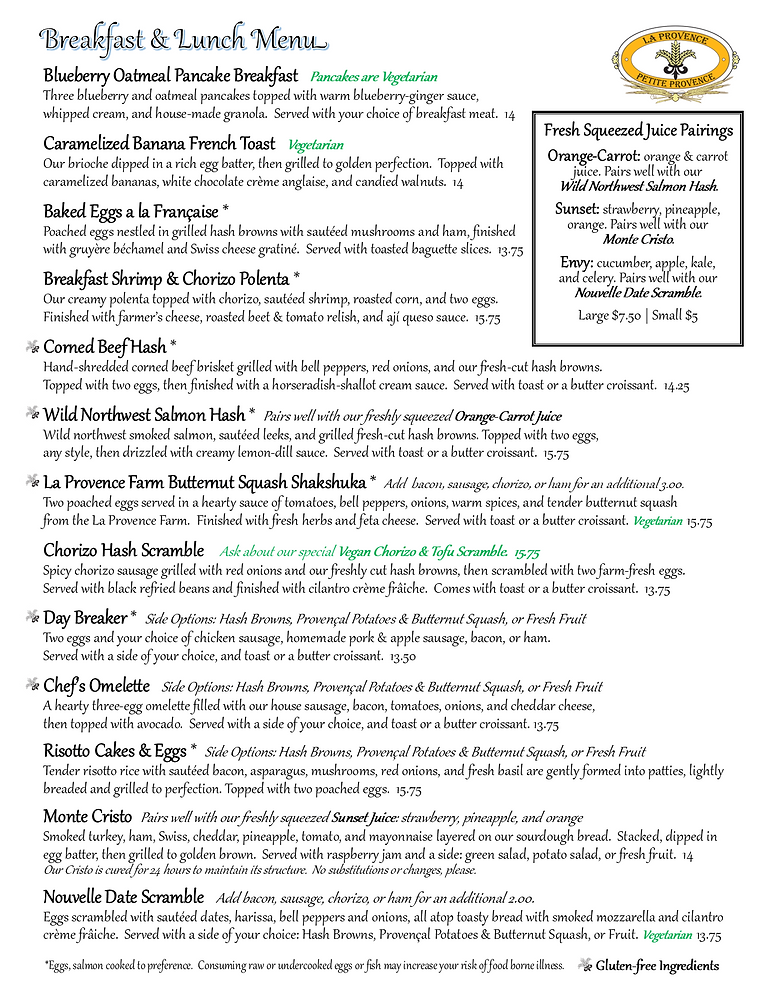 Pg 1 Petite Provence Sandy Blvd Breakfast and Lunch Menu Spring 2021