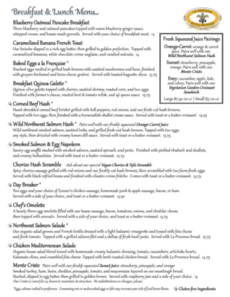 La Provence dine-in Breakfast & Lunch Menu pg1