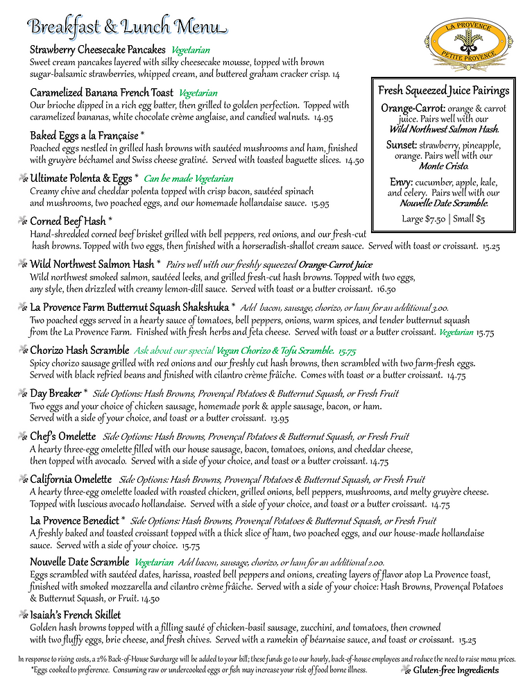 Provence Sandy Breakfast and Lunch Menu pg1