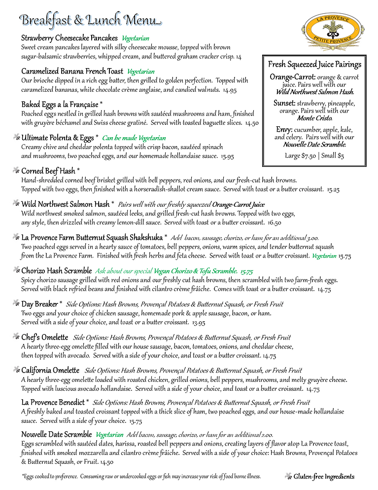 Provence Master Breakfast and Lunch Menu pg1