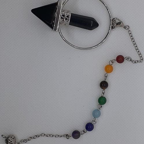 Pendule pyramide en obsidienne avec pointe hexagonale