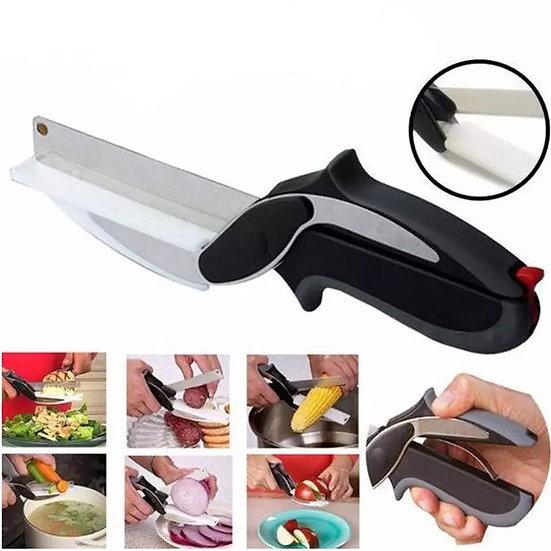 סכין מספריים עם קרש חיתוך