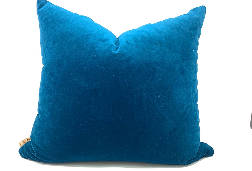 Teal Peacock Velvet Pillow//Seven