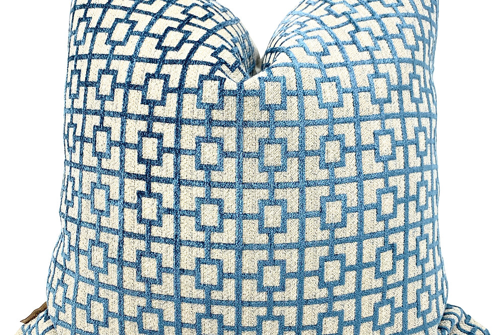 Teal/Green Velvet Geometric Pillow Cover-Grey Linen-Barbados