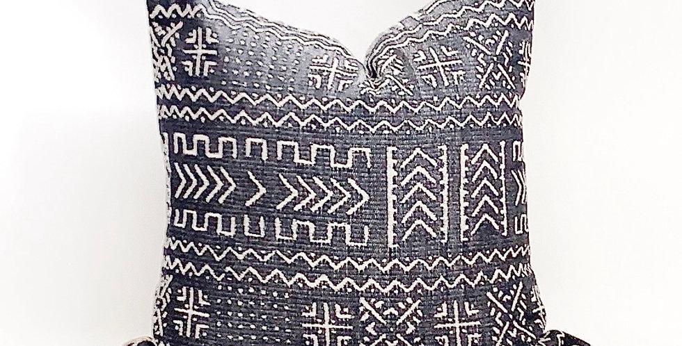 Pindler Stripe-Tribal Black Beige Decor Pillow-Jacquard Black Throw Pillow-Bosna