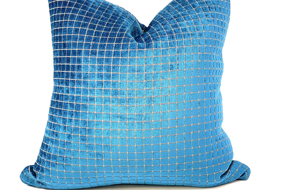 Persian Square Teal  Velvet Pillow//Monoco