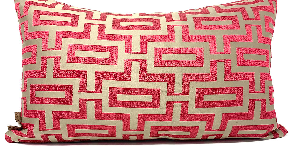 Geometric Red Chain Link Pillow-Red Embroidered Modern Decor Pillow-Botswana