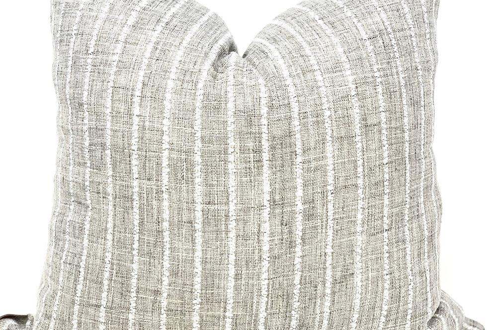 Beige Neutral Striped Throw Pillow//Sand