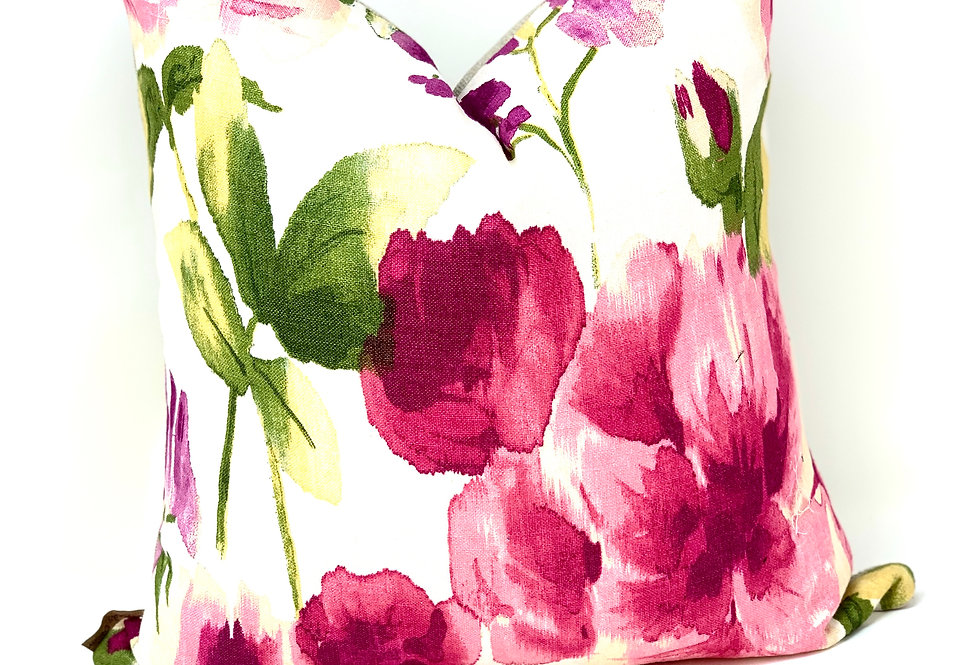 Pink Floral Pillow Cover-Red Pink Designer Pillow-Brunei