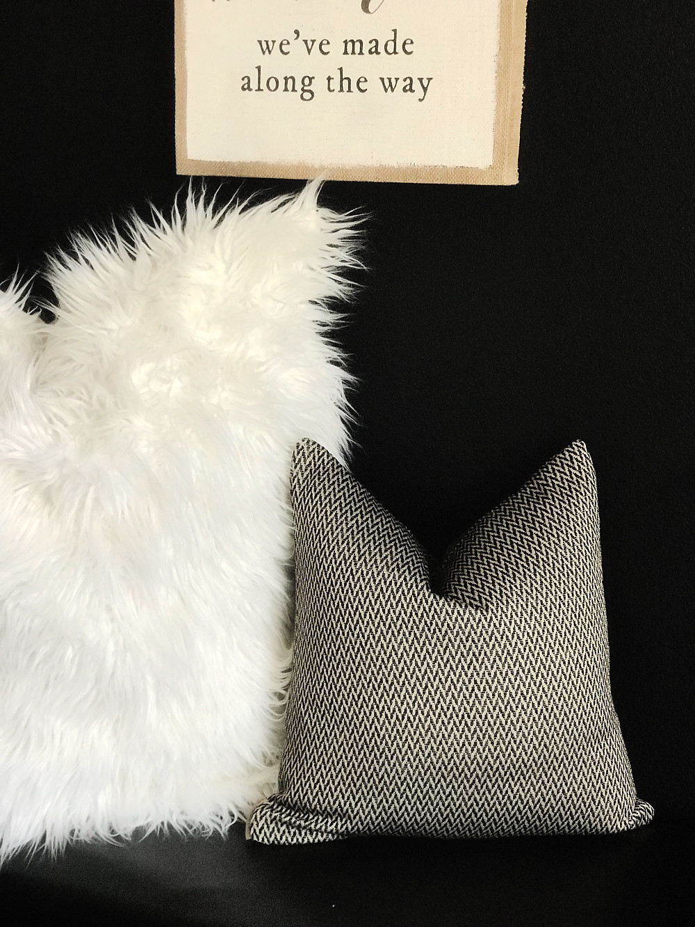 New to the shop! Check out our new black herringbone designer pillow. Beautifully made with a woven geometric print.