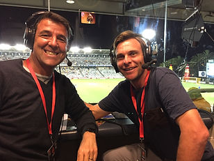 About to commentate with Mariners Legend Adam Kwasnik ABC Grandstand