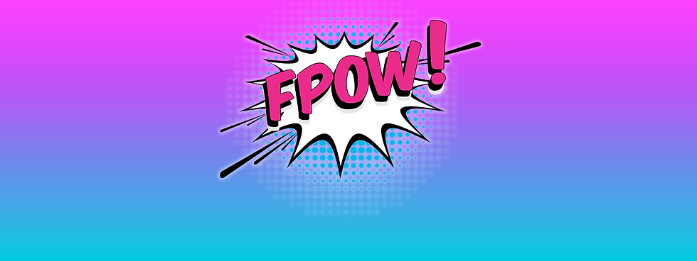 Fpow! in pink uppercase writing coming out of a white comic book explosioon, surrounded by blue and white dots.