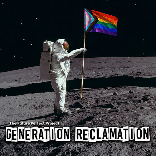 An astronaut with a white spacesuit stands in the middle of the photo, on a grey cratered moon. Facing to the right of the image, they hold a rainbow flag, which has a triangle with layers of black, brown, blue, pink and white at the beginning of it. The pole attached to the flag is the height of the astronaut, though is raised a bit higher above them with their left arm. In their white fabric cover helmet is a reflection of the flag. Behind them is a black, dotted white sky of stars. A large black shadow is cast across the moon's surface, behind the astronaut.