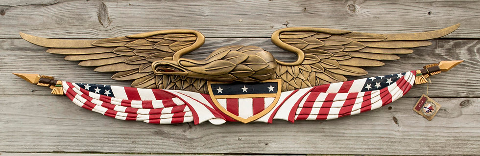 HANDCARVED PATRIOTIC EAGLE W/ FLAG AND SHIELD 1316