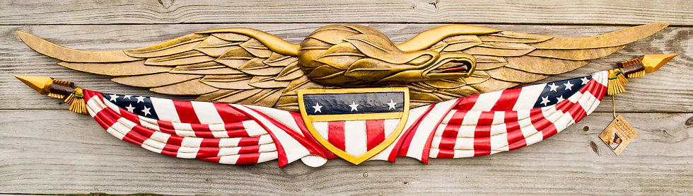 HANDCARVED PATRIOTIC EAGLE W/FLAG AND SHIELD 1317