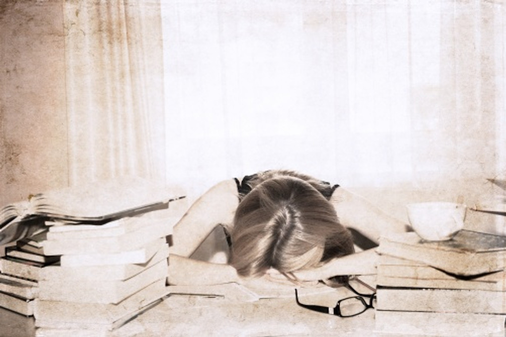 artwork  in retro style,  girl in the library, sleeping
