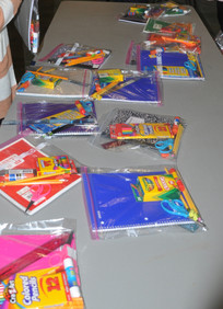 Collected school items.