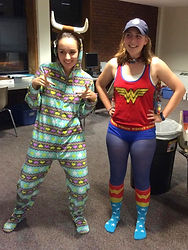 Staff members having fun durin ALA NM Girls State with silly pajamas.