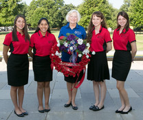 ALA Girls Nation Senators and staff with Poppy wreath