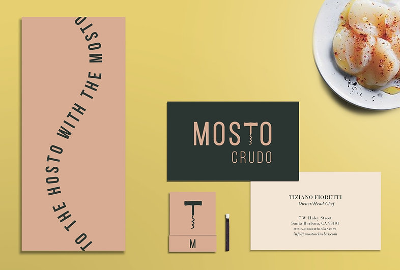 Brand identity, designed menu, business card, and matchbook for Mosto Crudo tapas bar by Grace Canaan Design Studio