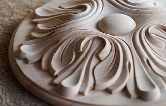 Wood processing. Joinery work. wood carving. the carving element. close up. small depth of