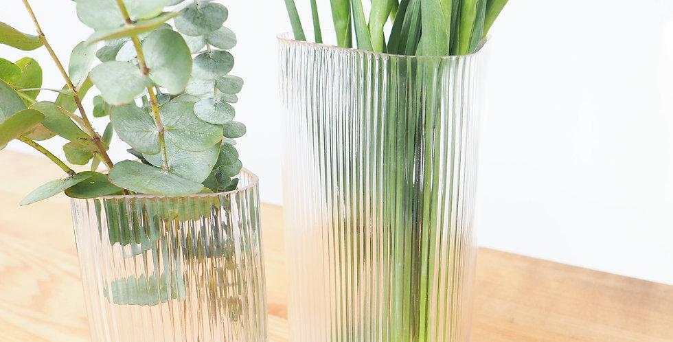 Reeded Glass Vase - set of 3