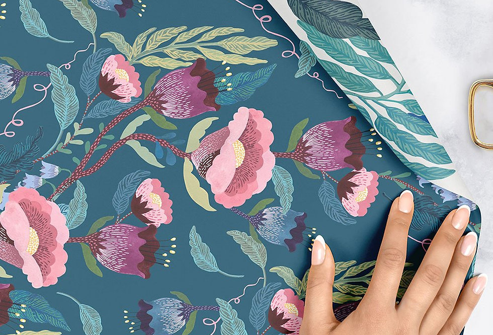 Bespoke Letterpress Giftwrap - Indigo Floral