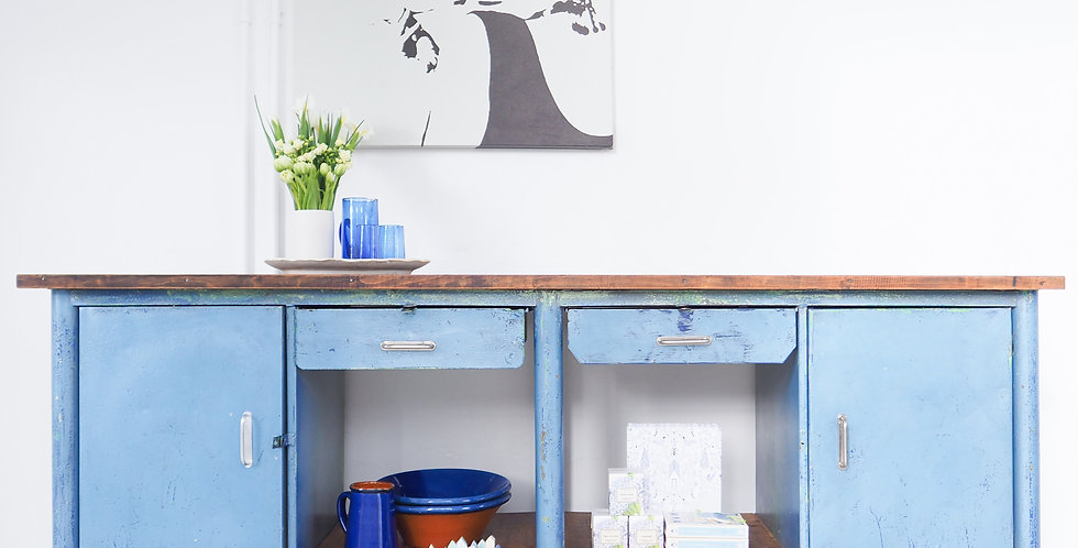 Blue Steel & Timber Workbench