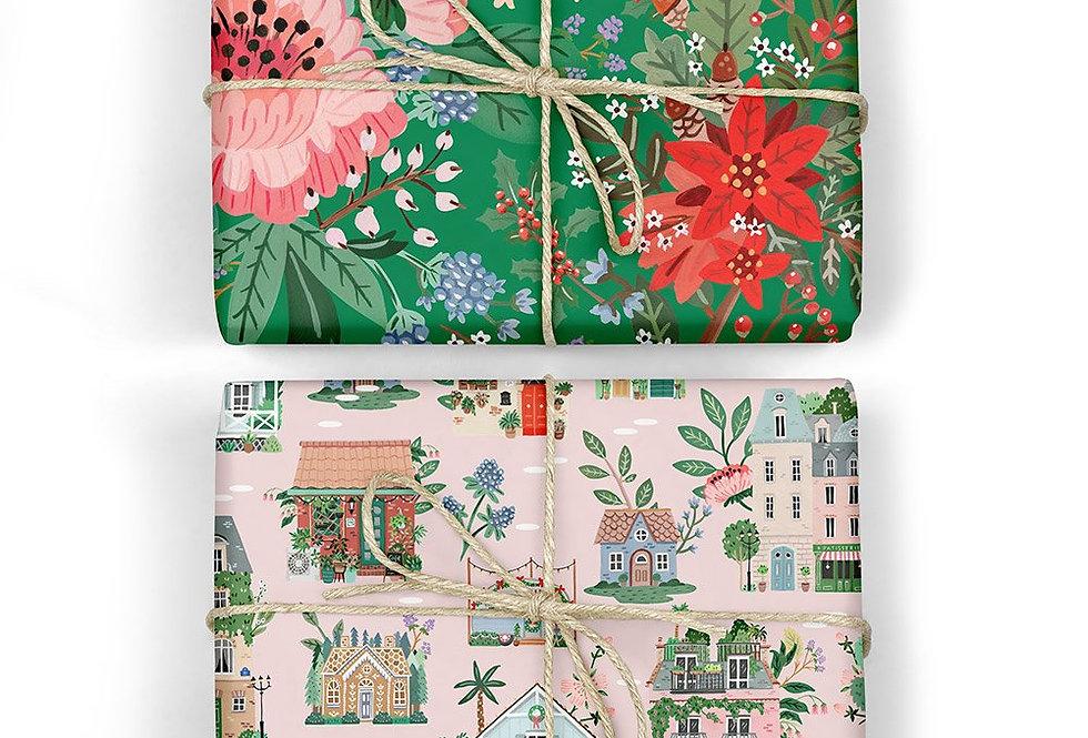 Bespoke Letterpress Giftwrap - Houses/ Green Floral