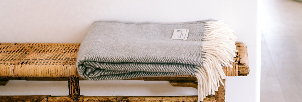 Ruanui Station - NZ Lambswool Throw 'Gully Grey'