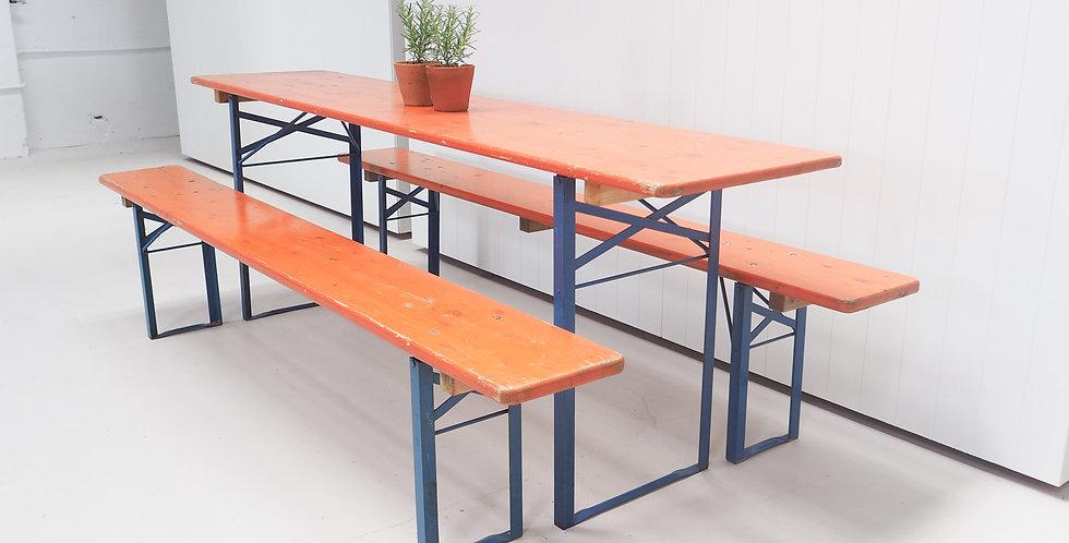 Vintage Beerfest Table Set - Orange with Blue Legs