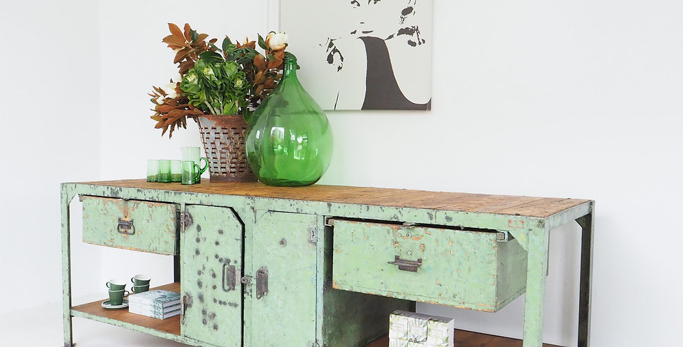 Mint Green Steel & Timber Workbench