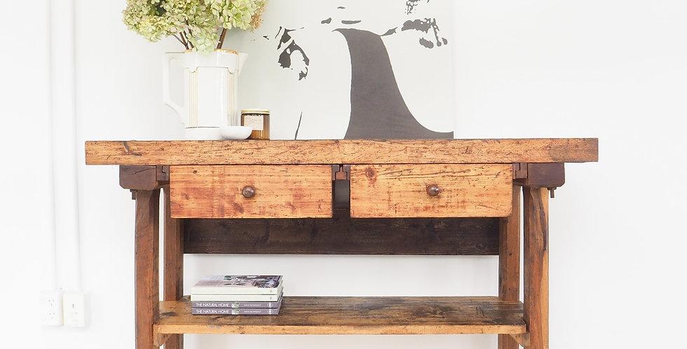 Vintage French Oak Workbench