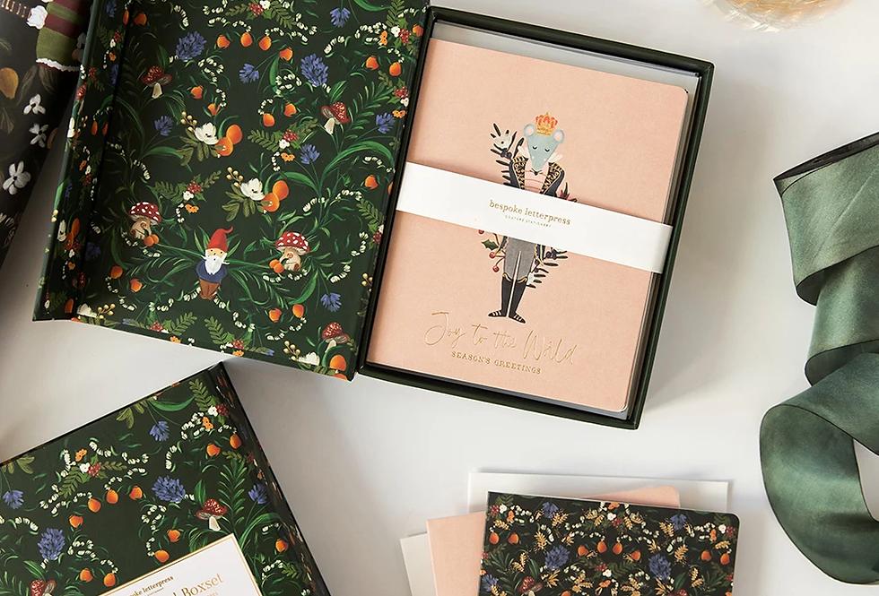 Bespoke Letterpress 10 Pack Greeting Card Boxset - Olive Christmas