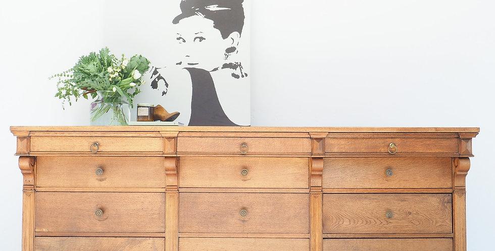 French Oak 12-Drawer Cabinet
