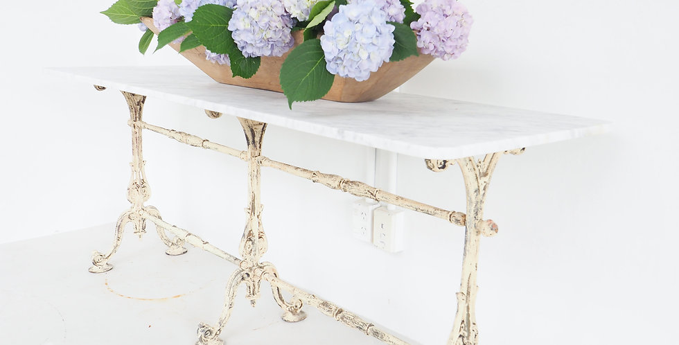 French Marble & Cast Iron Bistro Table