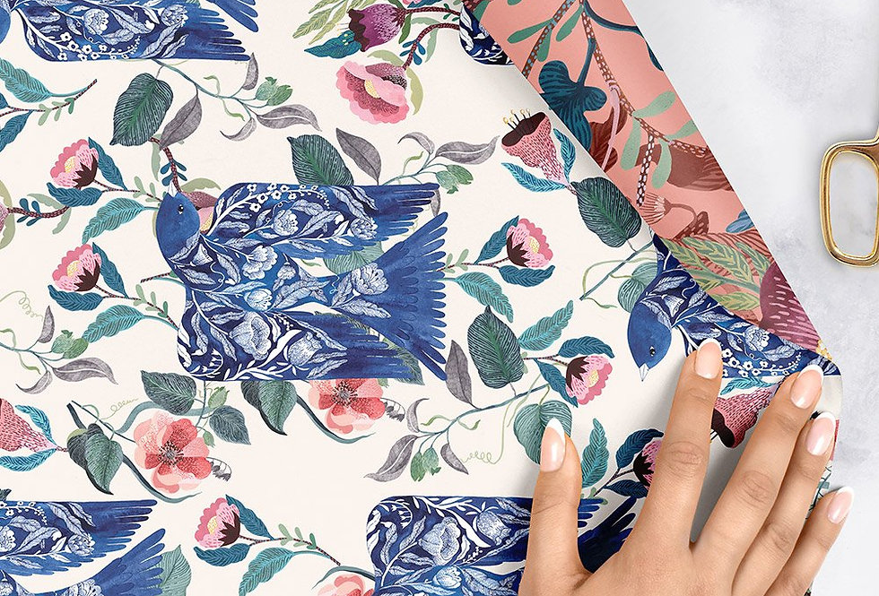 Bespoke Letterpress Giftwrap - Blue Birds